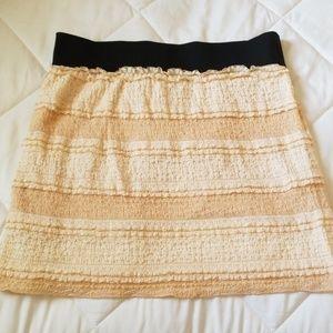 Free People Cream Lined Ruffle Skirt